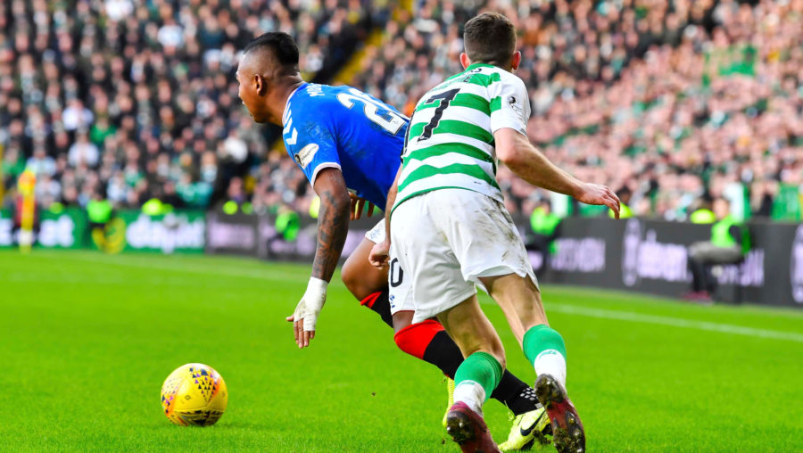 GLASGOW, SCOTLAND - DECEMBER 29: Alfredo Morelos is fouled by Ryan Christie during the Ladbrokes Premiership match between Celtic and Rangers at Celtic Park on December 29, 2019 in Glasgow, Scotland. (Photo by Rob Casey / SNS Group)