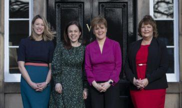 DINBURGH, SCOTLAND - FEBRUARY 17: (left to right) Minister for Europe and International Development Jenny Gilruth, Secretary for Finance Kate Forbes, First Minister Nicola Sturgeon and Secretary for Economy, Fair Work and Culture Fiona Hyslop, outside Bute House on February 17, 2020 in Edinburgh, Scotland. First Minister Nicola Sturgeon has outlined new appointments to the Scottish Government and cabinet. (Photo by Jane Barlow/WPA - Pool/Getty Images)