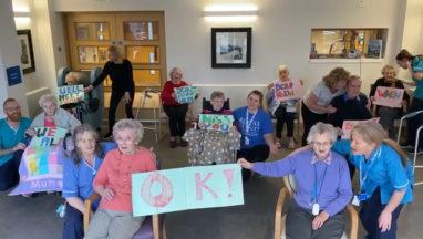 Jenny's Well care home in Paisley sings 'We'll Meet Again' to loved ones coronavirus social distancing.