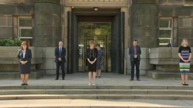 Minute's silence First Minister Nicola Sturgeon outside Bute House April 28 2020.