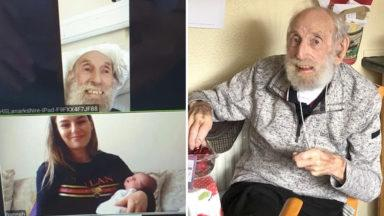 Covid-19 patient virtually meets his great-grand daughter for the first time.