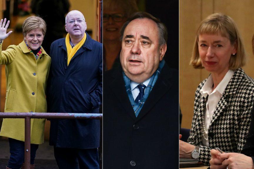 Key players: Sturgeon and husband Peter Murrell, Salmond and top civil servant Leslie Evans.