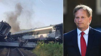 Stonehaven rail crash UK transport secretary Grant Shapps collage after 'Hornby train set' comments