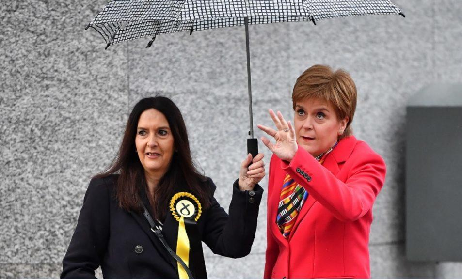 Margaret Ferrier campaigns with Nicola Sturgeon during 2019 election campaign.