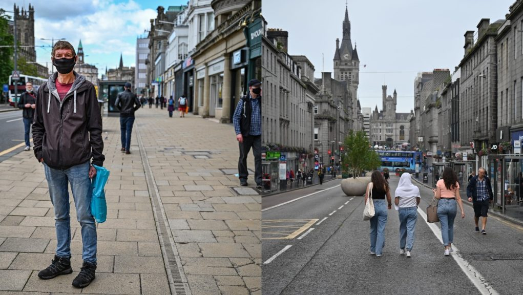 Princes Street in Edinburgh (left) and Union Street in Aberdeen during the pandemic.