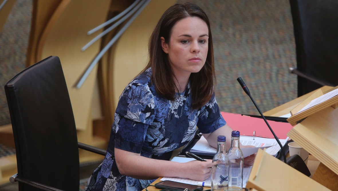 EDINBURGH, SCOTLAND - JULY 09: Kate Forbes, MSP Finance Secretary gives a ministerial statement in response to the Chancellors summer economic update at the Scottish Parliament in Holyrood on July 9, 2020 in Edinburgh, Scotland. (Photo by Fraser Bremner - WPA Pool/Getty Images)