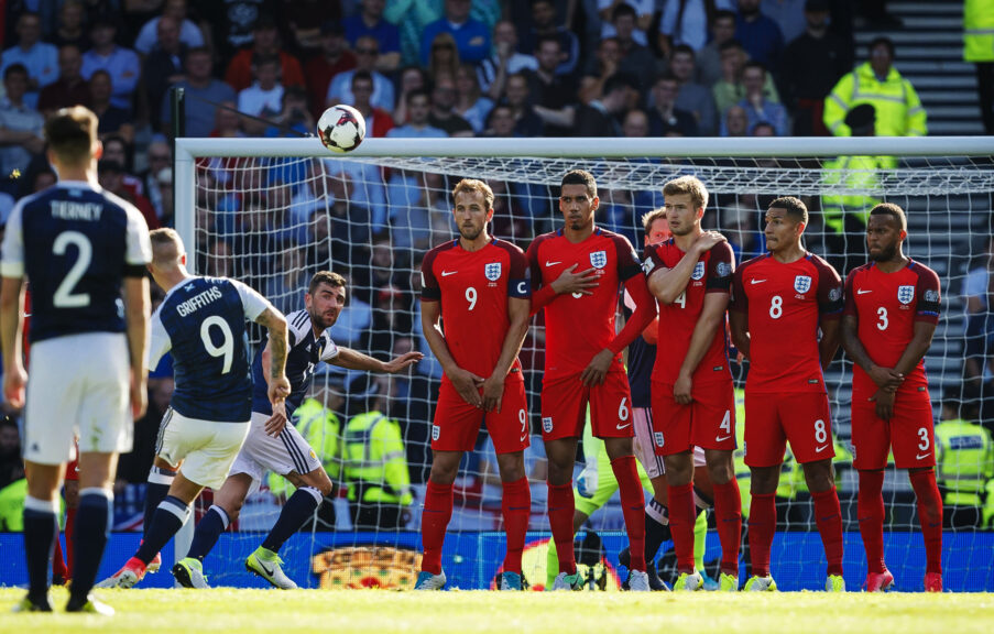 Free kick: A goal against England for Leigh Griffiths.