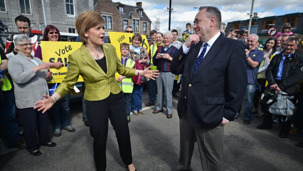 Nicola Sturgeon and Alex Salmond at a campaign event (file pic).