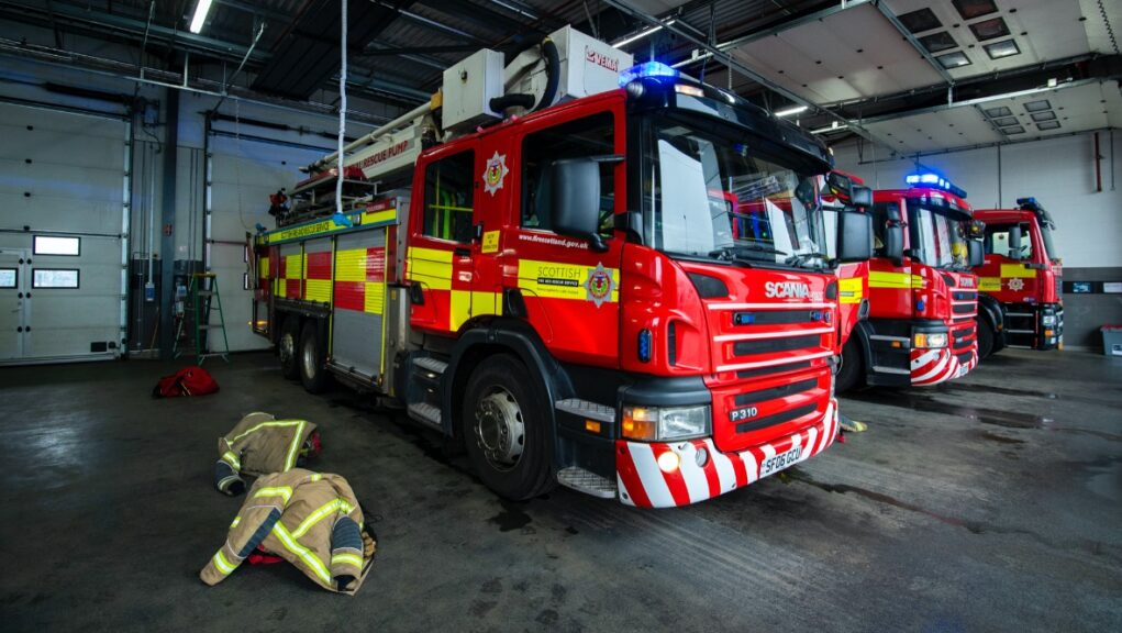 Emergency: Firefighters rushed to the scene in Inverclyde on Tuesday.