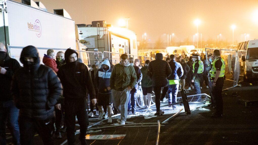 Anger: Fans gather at Celtic Park calling for Neil Lennon to resign.