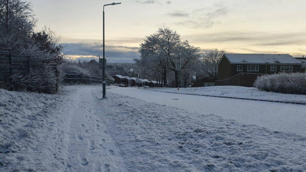 Winter wonderland: East Kilbride woke up to snow.
