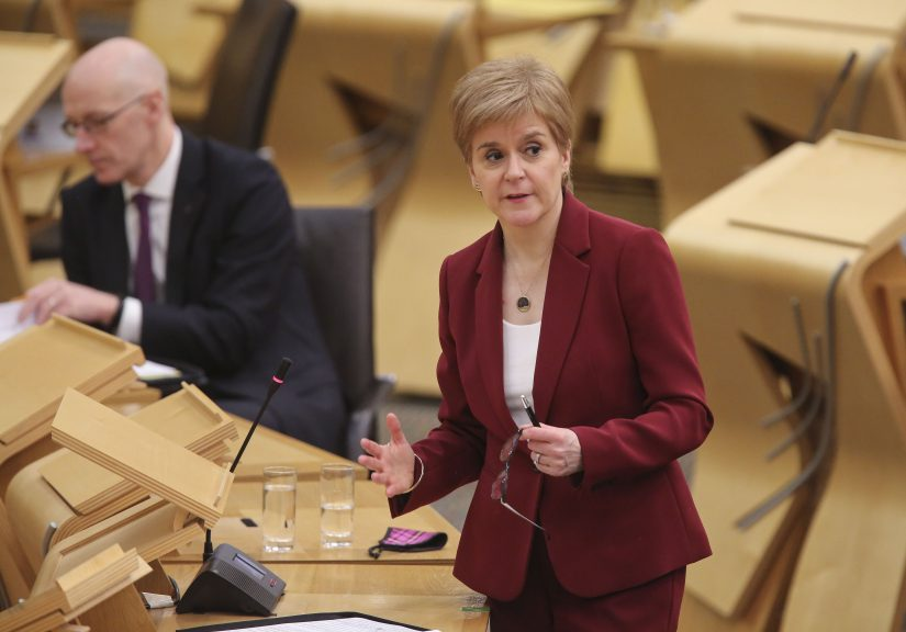 Sturgeon: FM said she 'can't turn the clock back' over care homes decision.