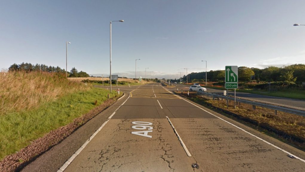 A90: A stretch of the road has been closed following a crash.