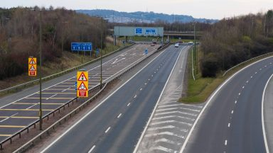 EDINBURGH, SCOTLAND - MARCH 24: The Edinburgh City Bypass during the usual morning rush hour amid the ongoing coronavirus pandemic, on March 24, 2020, in Edinburgh, Scotland. (Photo by Mark Scates / SNS Group)