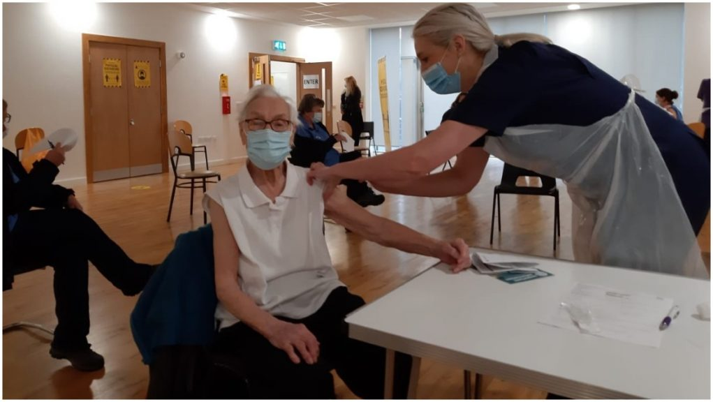 Emily Lawson was inoculated at Turret Medical Centre in her home town of Kirkintilloch, East Dunbartonshire.