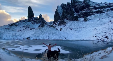 Scott J MacLucas-Paton went ice swimming at The Old Man Of Storr