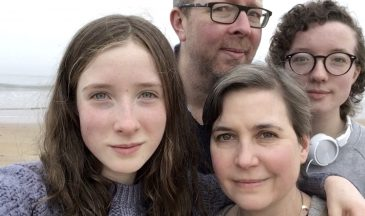 Nick and Helen Harris with daughters Isabel and Daisy