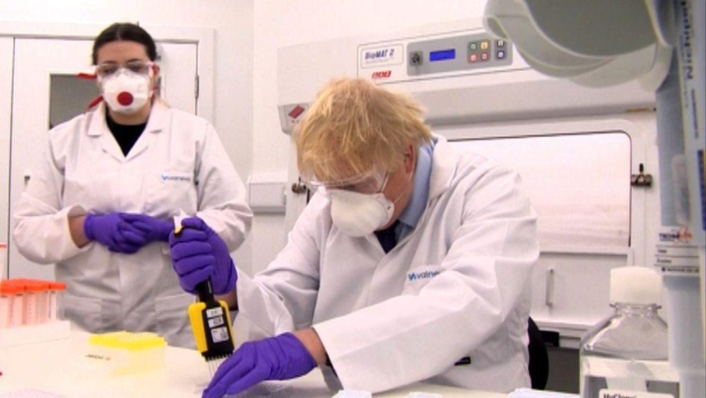 Boris Johnson at the Valneva vaccine site in Livingston.