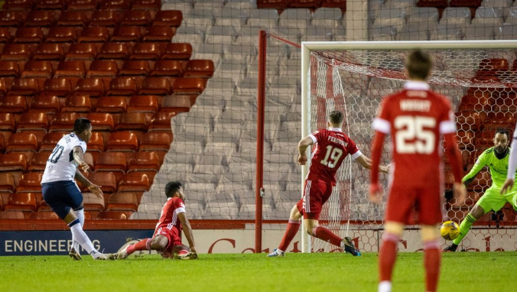 Alfredo Morelos scoring his second goal of the match at Pittodrie.