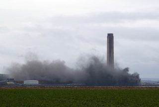 Part of a power station in Fife has been brought down in a controlled explosion.