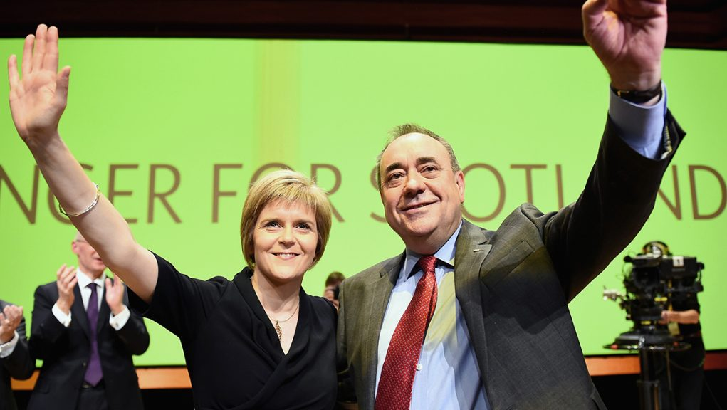Alex Salmond with Nicola Sturgeon in 2014 after delivering his last keynote speech as SNP leader.