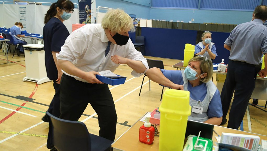 Johnson was asked about devolution while visiting a vaccination centre in Wales.