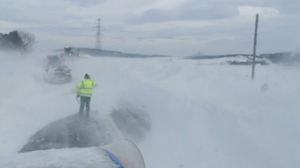 Drifting snow on the A96.