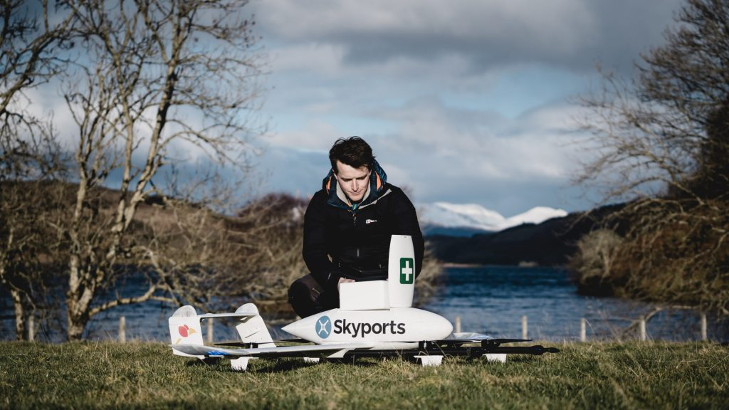 The delivery drones, operated by Skyports, will carry up to 3kg of critical medical supplies up to 40 miles.