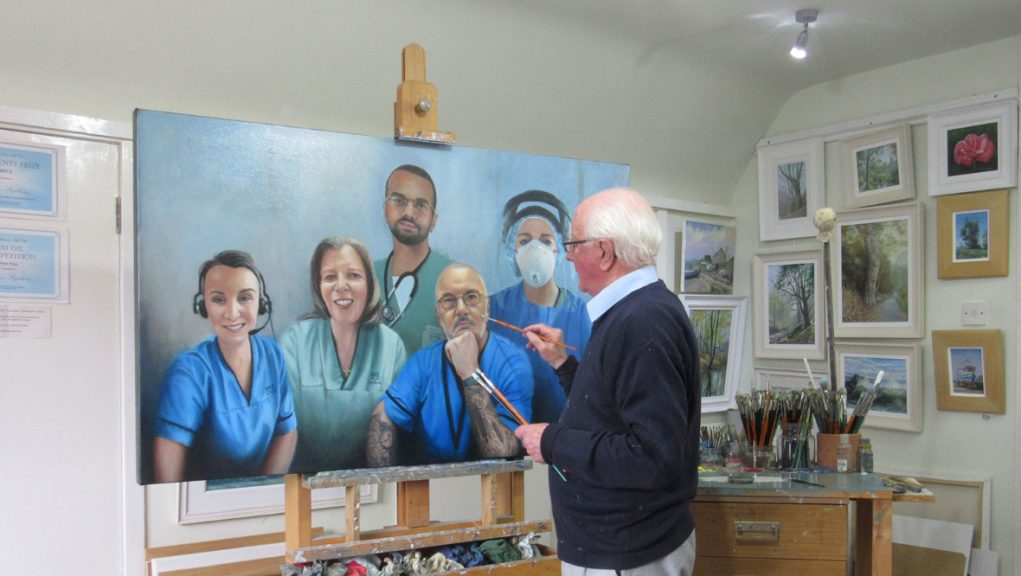 The artwork is hung in the main thoroughfare in the newest wing of Victoria Hospital.