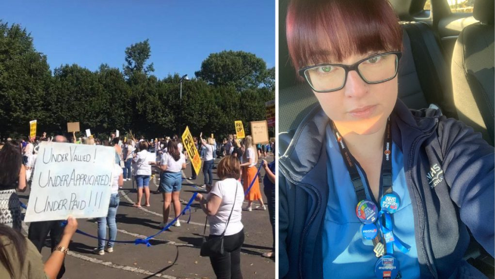 NHS workers and supporters staged protests against pay and conditions last year which nurse Pauline Brady helped organise.