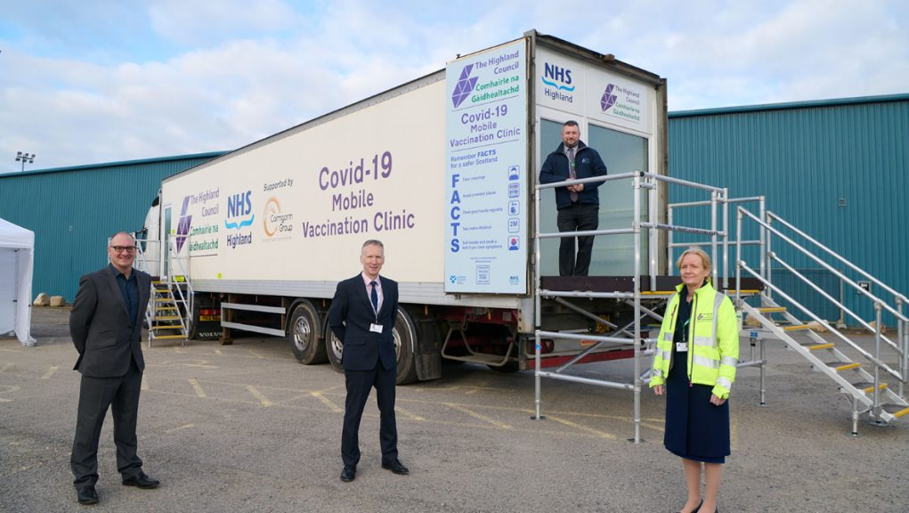 Chris Dowling of Cairngorm Group, Dr Boyd Peters medical director of NHS Highland, Mike Cooper, Highland Council transport and logistics manager and Donna Manson Highland Council CEO.