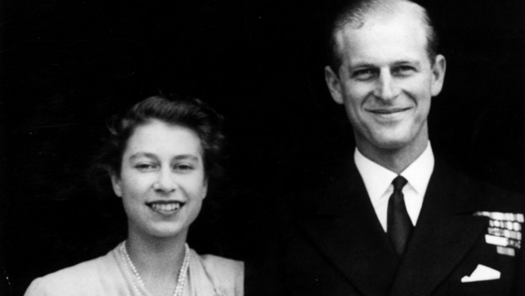 Royal couple following their engagement in 1947.
