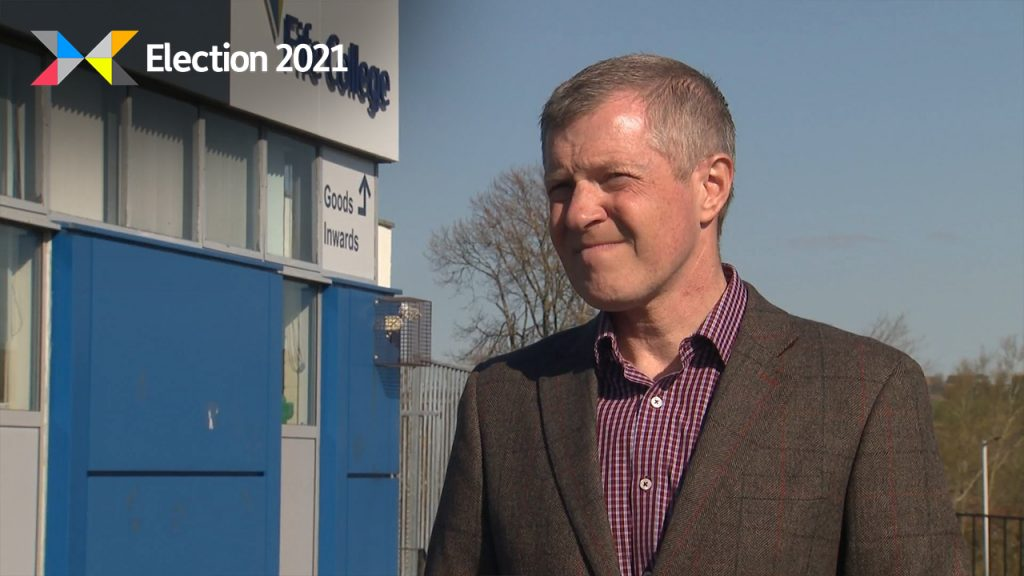 Willie Rennie visited Fife College to set out plans for investment in green technology and renewables.