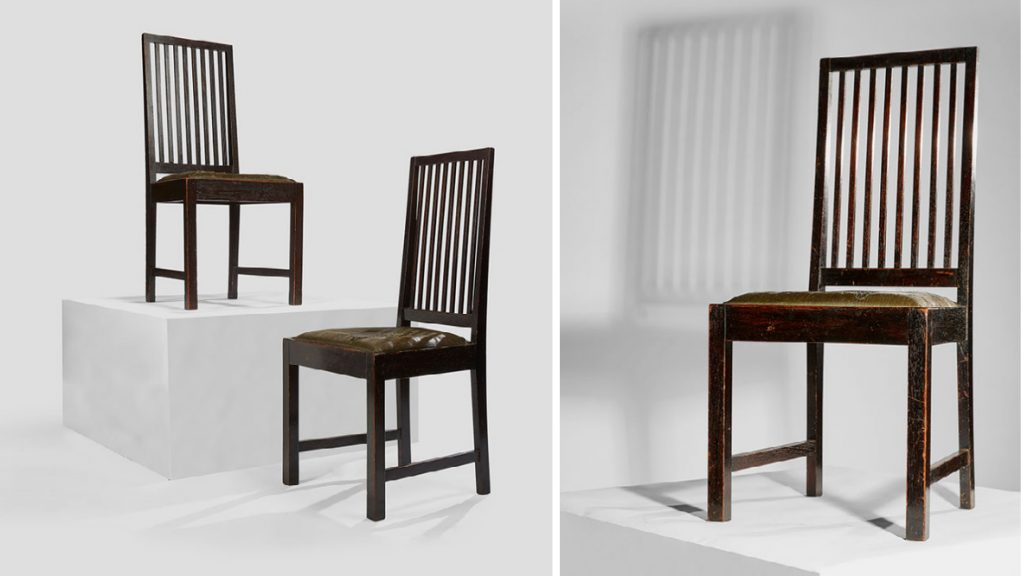 There are two sets of the chairs which were specially made for the architect and designer's friend William Douglas.