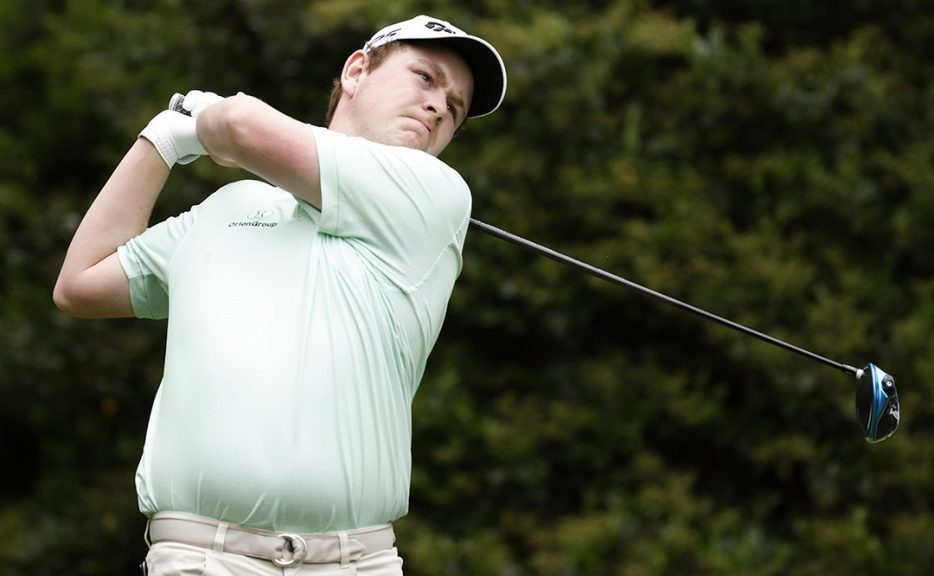 MacIntyre in action at Augusta National Golf Club.