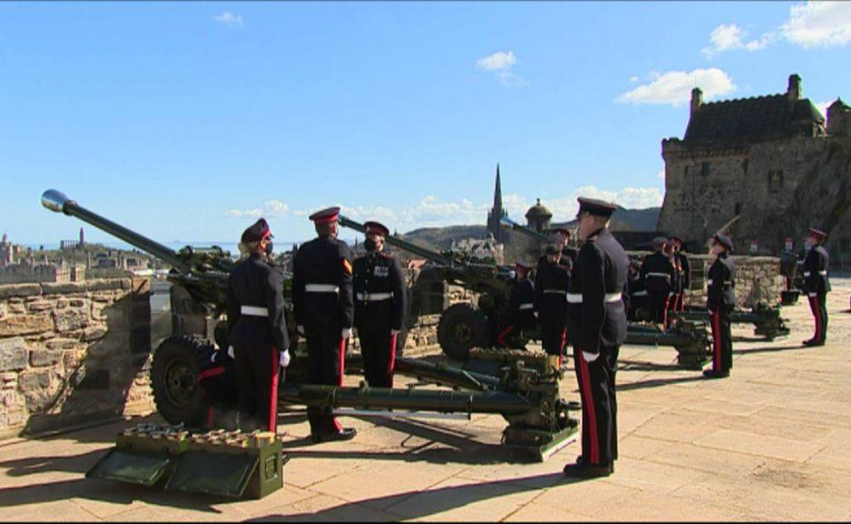 Salute: A gun salute at Edinburgh Castle is marking Prince Philip's death.