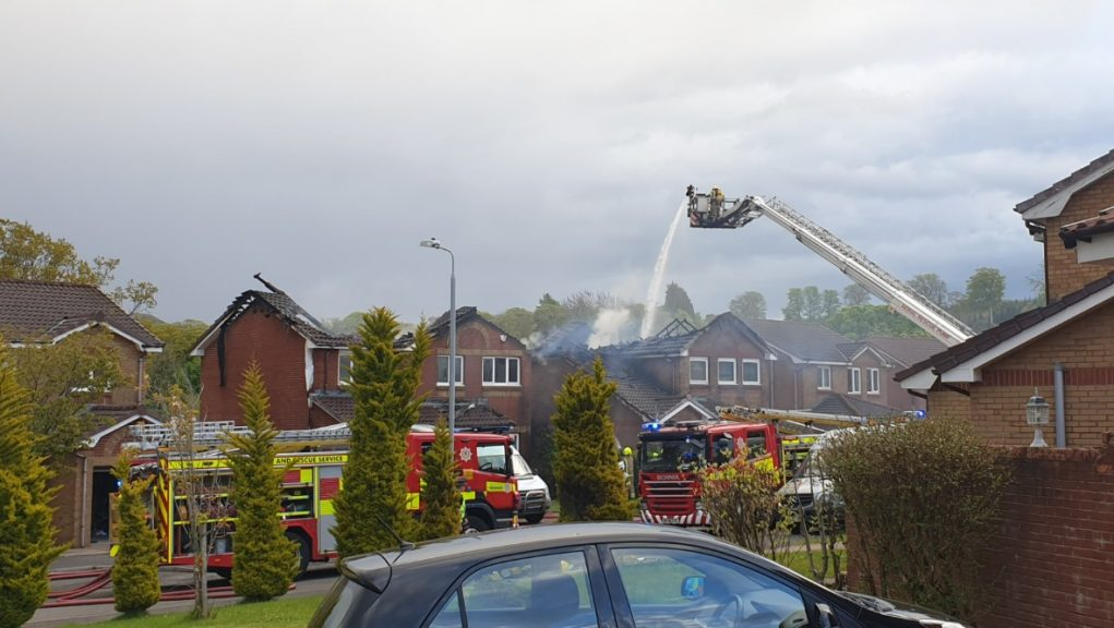 Fire: Two houses affected.