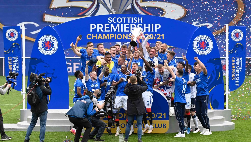 Rangers lifted the Premiership trophy at full-time.