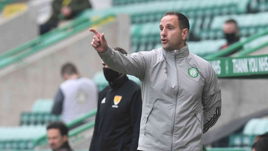 EDINBURGH, SCOTLAND - MAY 15:  Celtic Interim Manager John Kennedy during the  Scottish Premiership match between Hibs and Celtic  at Easter Road  on May 15, 2021, in Edinburgh, Scotland. (Photo by Craig Foy / SNS Group)
