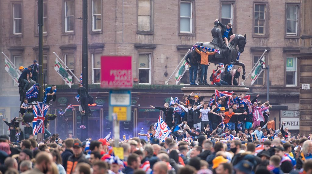 Celebrations: Thousands of fans attended the city centre.
