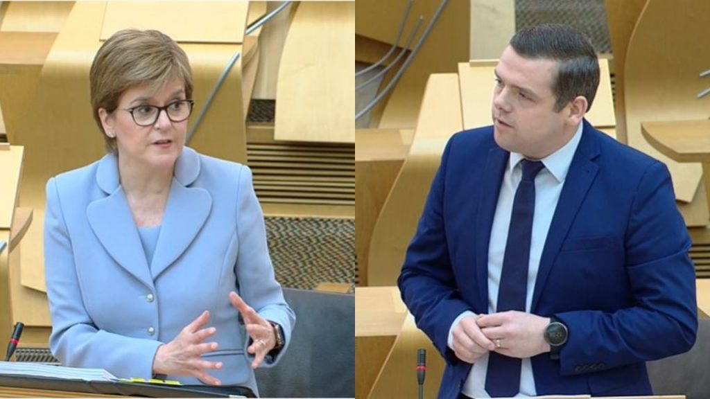 Scottish Conservative leader Douglas Ross challenged the First Minister over the new system.