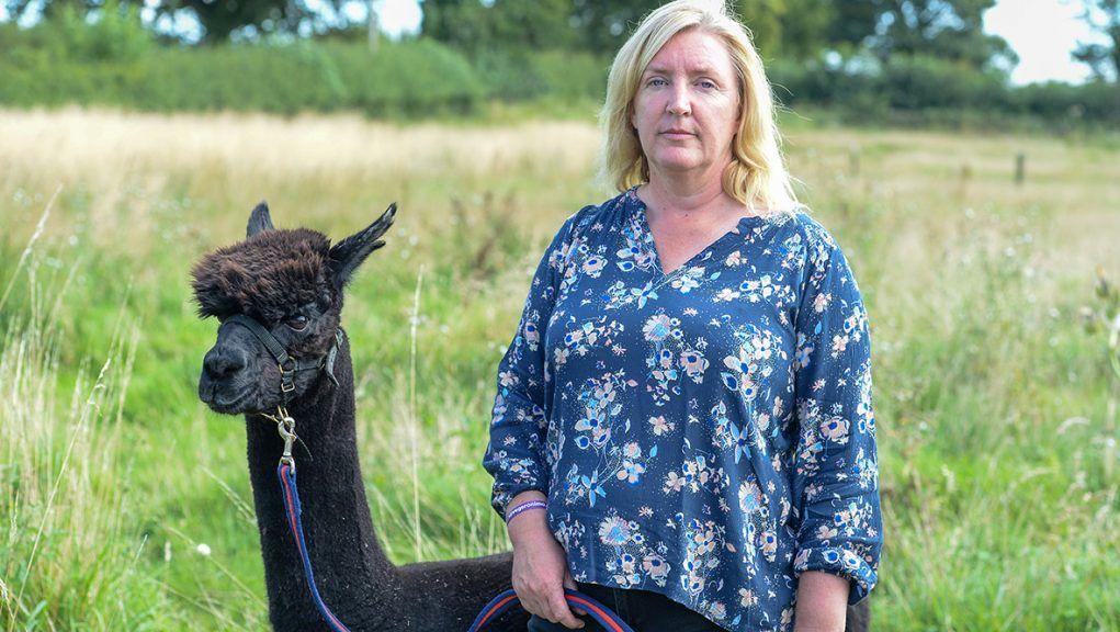 Veterinary nurse Helen Macdonald with Geronimo at farm in Gloucestershire.