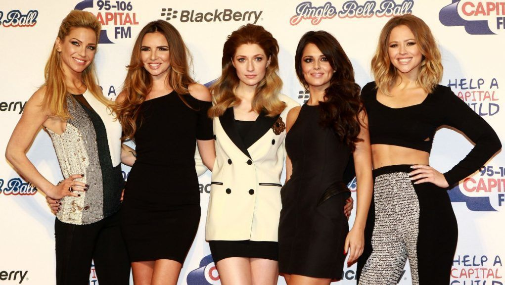 Harding (left) and Coyle (second from left) found fame with Girls Aloud alongside Cheryl (second from right), Nicola Roberts (centre) and Kimberley Walsh.