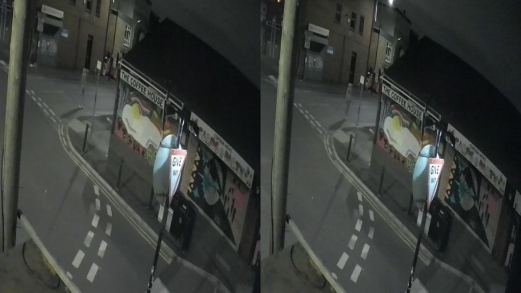 CCTV footage from that evening shows a man with his hood up acting suspiciously near the mural.